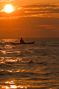 Kayaker Silouetted at Sunset
