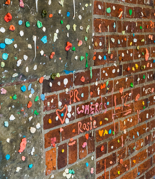 "Chewing gum art, ""Gum Wall"" in Post Alley, Seattle"