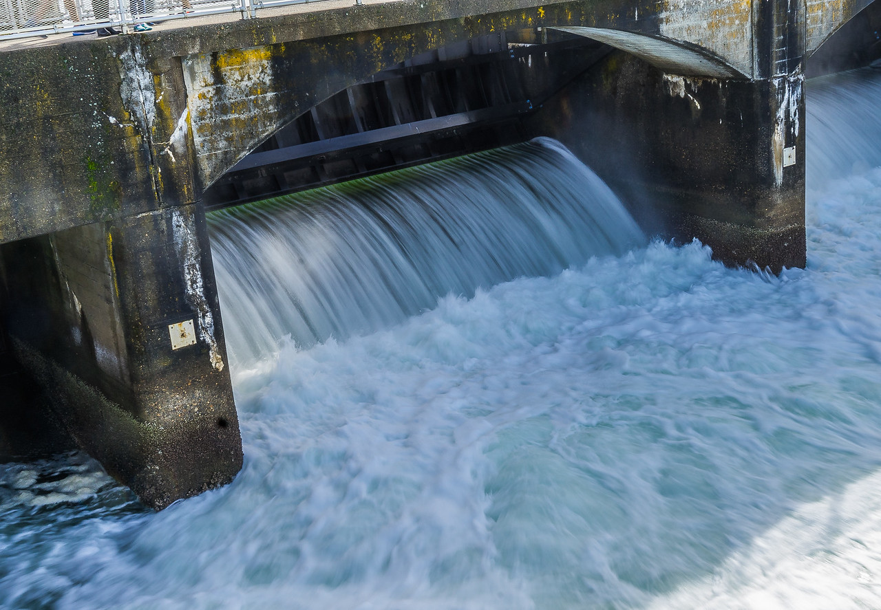 Ballard Locks Spillway from Salmon Bay