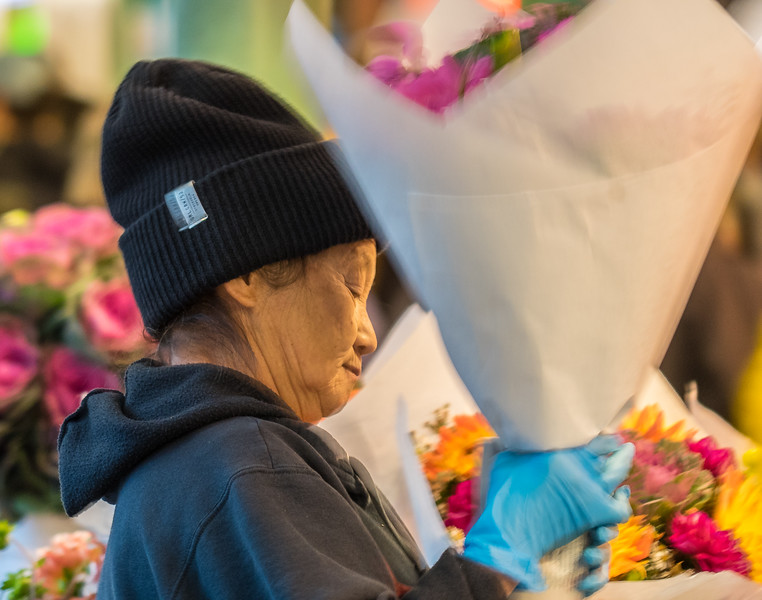 Flower lady at Pike Place Market