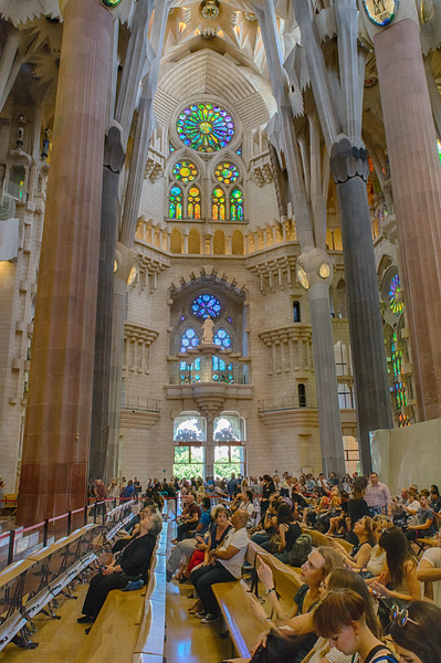 Barcelona, Sagrada Familia, Tourists in awe