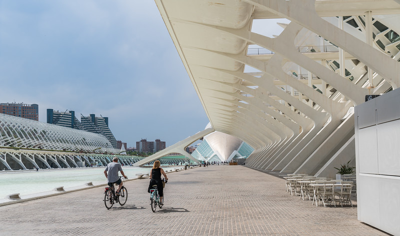 Valencia, City of Arts and Sciences, Museu de les Ciències Príncipe Felipe, looking towards L'Hemisfèric