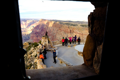 Tourists making images outside the Desert View Watchtower