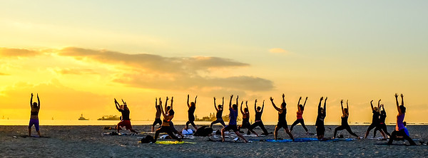 Sunrise yoga on Miami Beach