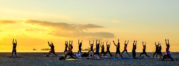 Sunrise yoga on Miami Beach