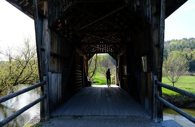 Di silhouetted in the Martin Covered Bridge