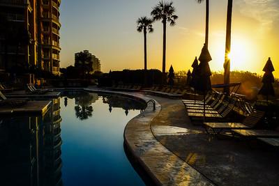 Sunrise over the Marriott OceanWatch Villas pool