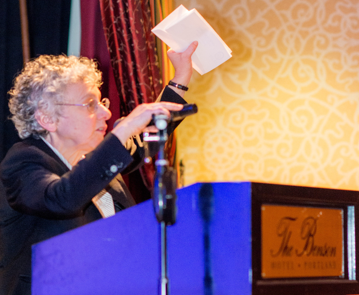 Emily Simon at the Benson Hotel, receiving the OCDLA Ken Morrow Lifetime Achievement Award.