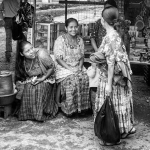 Women in traditional Maya dresses in rural Guatemala
