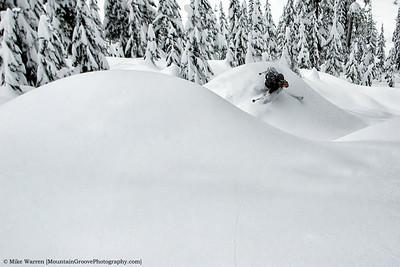 """Skiing the Cleavage,"" Alpental backcountry, WA"