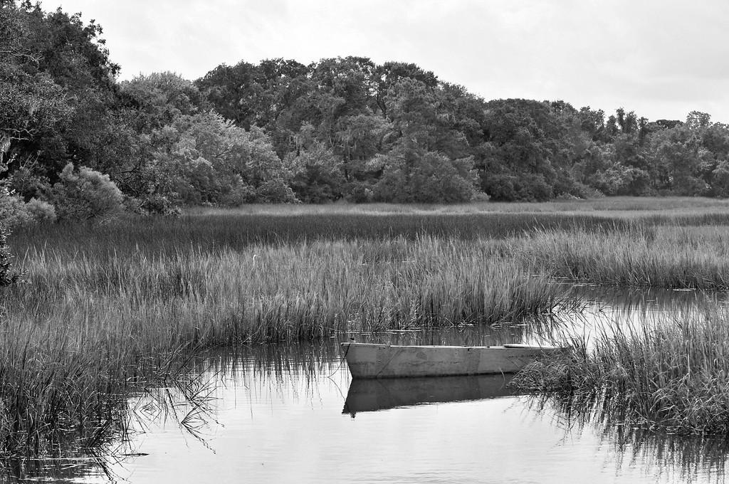 Boat in marsh b/w