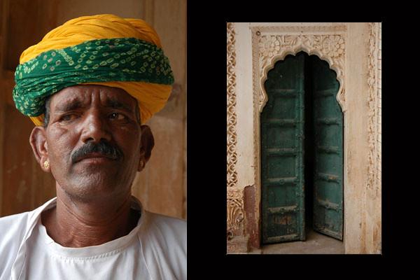 Guard at Mehrangarh Fort<br /> Jodhpur, Rajasthan
