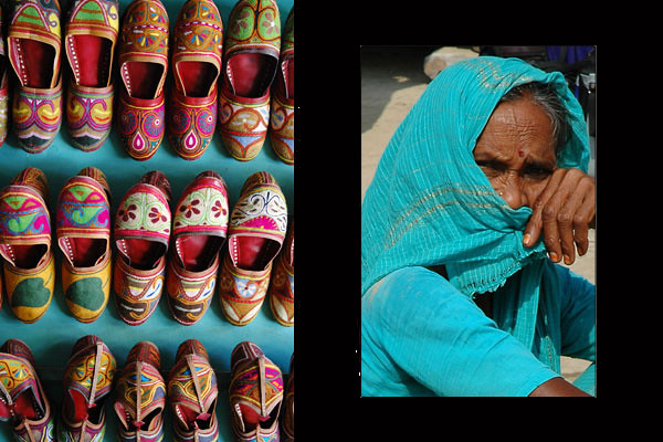 Rajasthani Footwear:  Mojri or Jutiya (Udaipur, Rajasthan)<br /> Woman in Aqua (Varanasi, Uttar Pradesh)