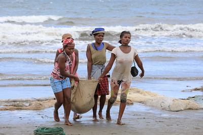 Native Malagasy fishermen fishing on sea, Madagascar
