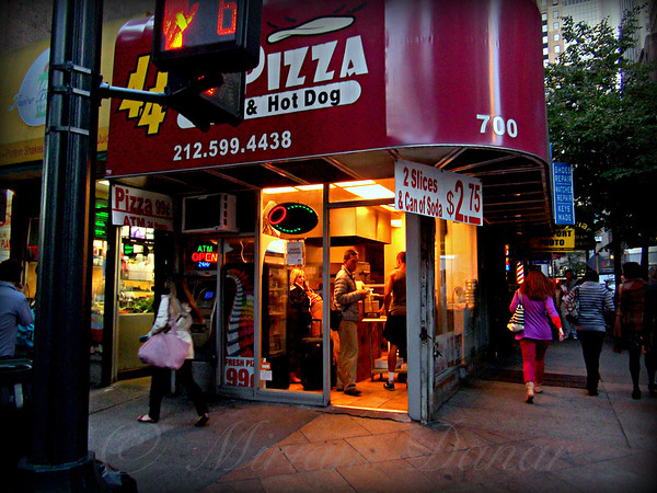 Pizza and Hot Dog - Life in New York - New York City Street Scene