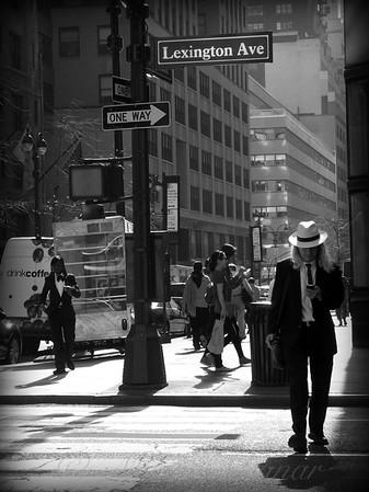 Man with Straw Hat - New York City Street Scene