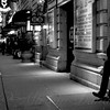 New York at Night - The Phone Call - Theatre District - Black and white version