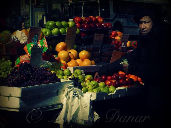 The Fruit Seller - New York City Street Scene