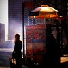 Sun and Shadow - Girl with Food Cart - New York City Street Scene