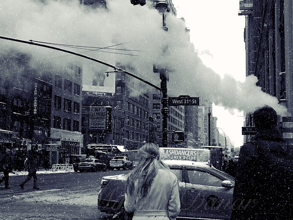 Snowy Day with New York City Steam