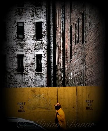 Post No Bills - Man in Yellow Slicker - New York City Street Scene