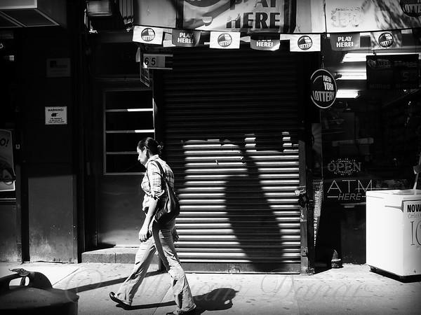 New York Lottery - Play Here - New York City Street Scene - Black and White