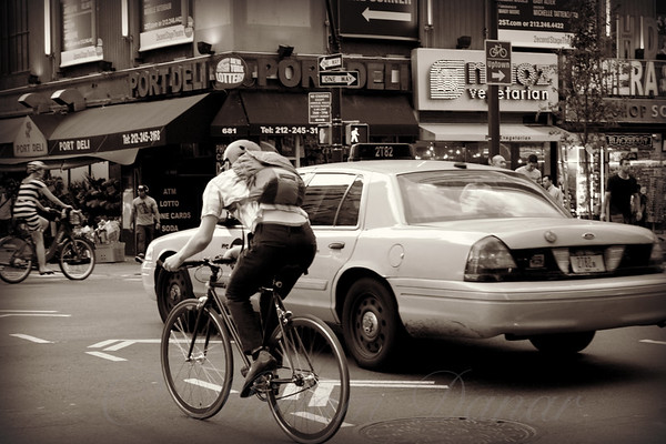 Wheels - Transportation in New York City - sepia