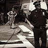 Girl and Policeman - New York City Street Scene