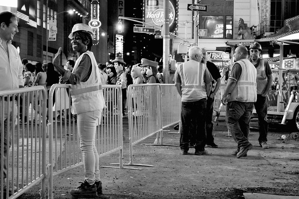 Enjoying the Nightlife - Times Square at Night - New York - Black and white version