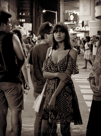 Girl with Red Dress - Times Square New York