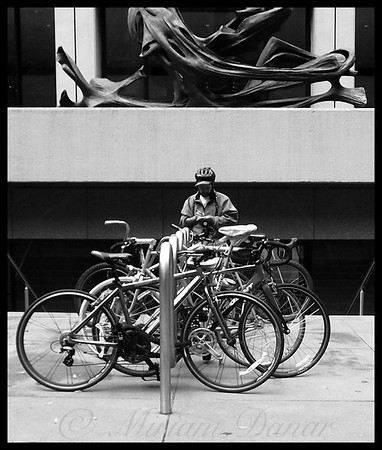 NYC Bike Messenger Checking His Destination - People of New York City