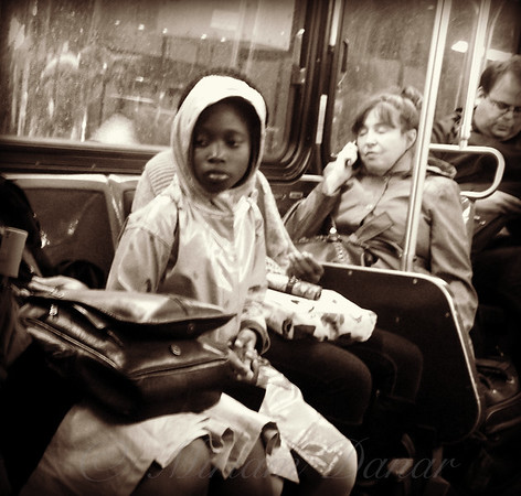 Young Girl on Bus - New York City