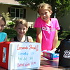 Angie Holland/The Herald<br /> Brooklyn Coenen, Karling Taylor, Maddison Coenen and Taryn Taylor had a lemonade stand set up and were eager for thirsty customers on Monday, June 19.<br /> <br /> (Featured in the Tuesday, June 20,  2017 Oskaloosa Herald)