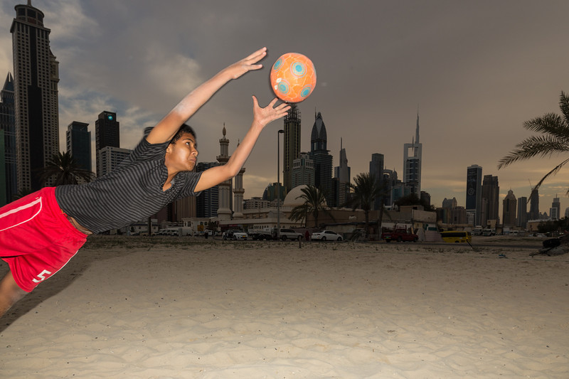 Soccer player in Dubai, UAE.