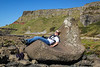 Taking a rest at the Giant's Causeway, Northern Ireland.