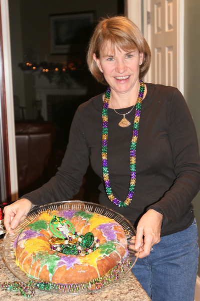 Showing off the King Cake I baked.