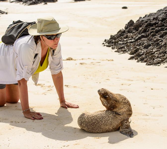 Falling in love with a sea lion, Galapagos, Ecuador.