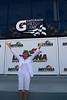 Celebrating a victory at the Daytona Speedway.