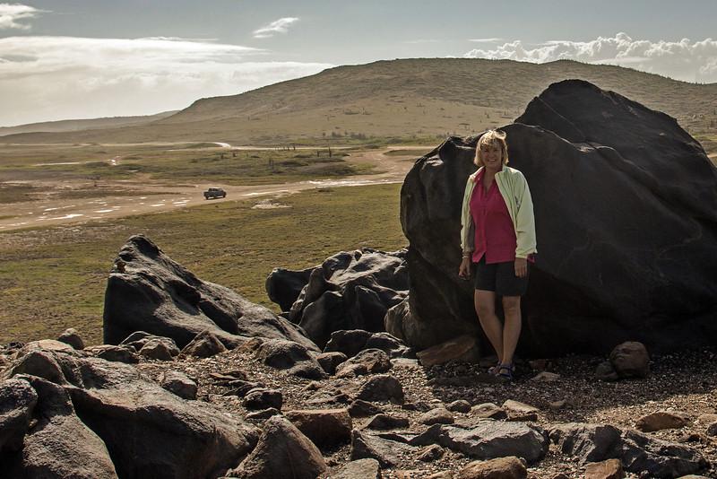 Debi in windy Aruba.