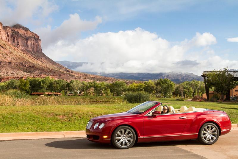 Debi drives a $180,000 Bentley convertible at Gateway Canyons Resort, Colorado.