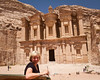 After climbing 800 steps up the Monastery at Petra.