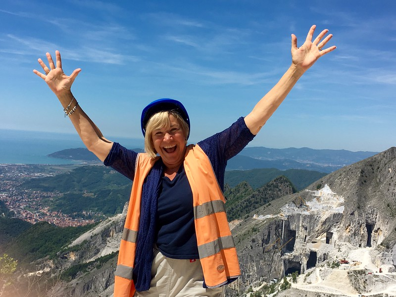 Reaching the top of the Carrara Marble Quarry.