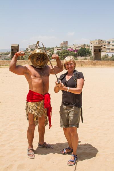 Fighting off a gladiator, Roman Chariot Races at Jerash, Jordan.
