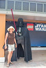 With Darth Vadar, who is made from Lego's.