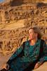 Pretending to be a model in the desert of Wadi Rum.