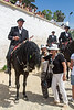 Debi pets a horse in the Festival of St. John, Ciutadella, Minorca, Spain.