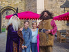 With Dumbledor, Laura and Hagrid at Alnwick Catle in England.