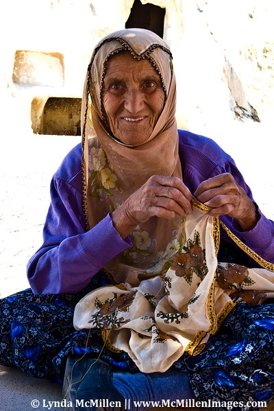 A woman selling her crafts, Turkey.