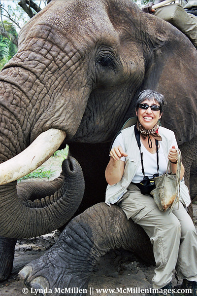 Barb with Danny at Zambia game preserve.