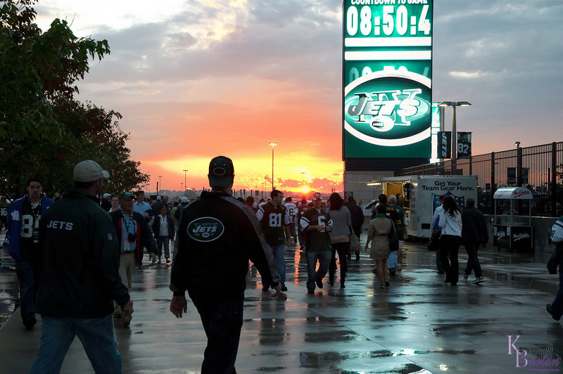 The clock counts down the minutes until the Jets kickoff their first ever regular season game at the New Meadowlands.